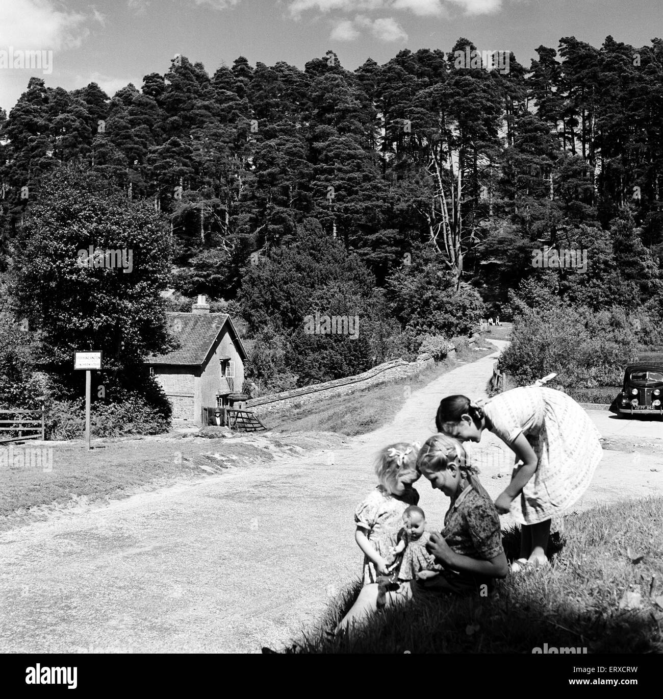Children playing in the hamlet of Friday Street in Surrey. 28th August 1952. - Stock Image