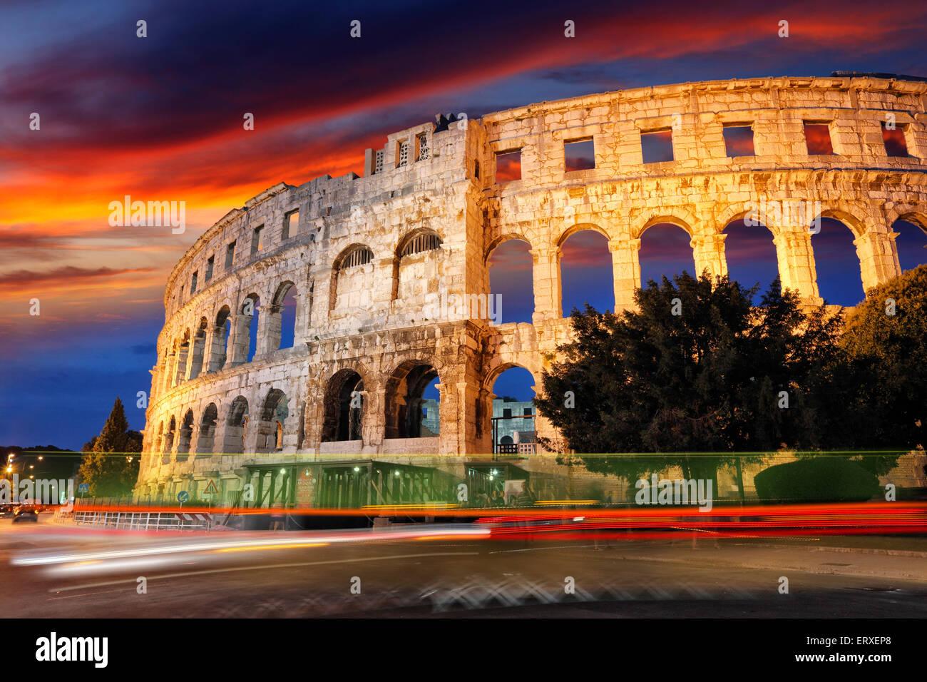 Pula Amphitheater, Arena - Croatia - Istria Stock Photo