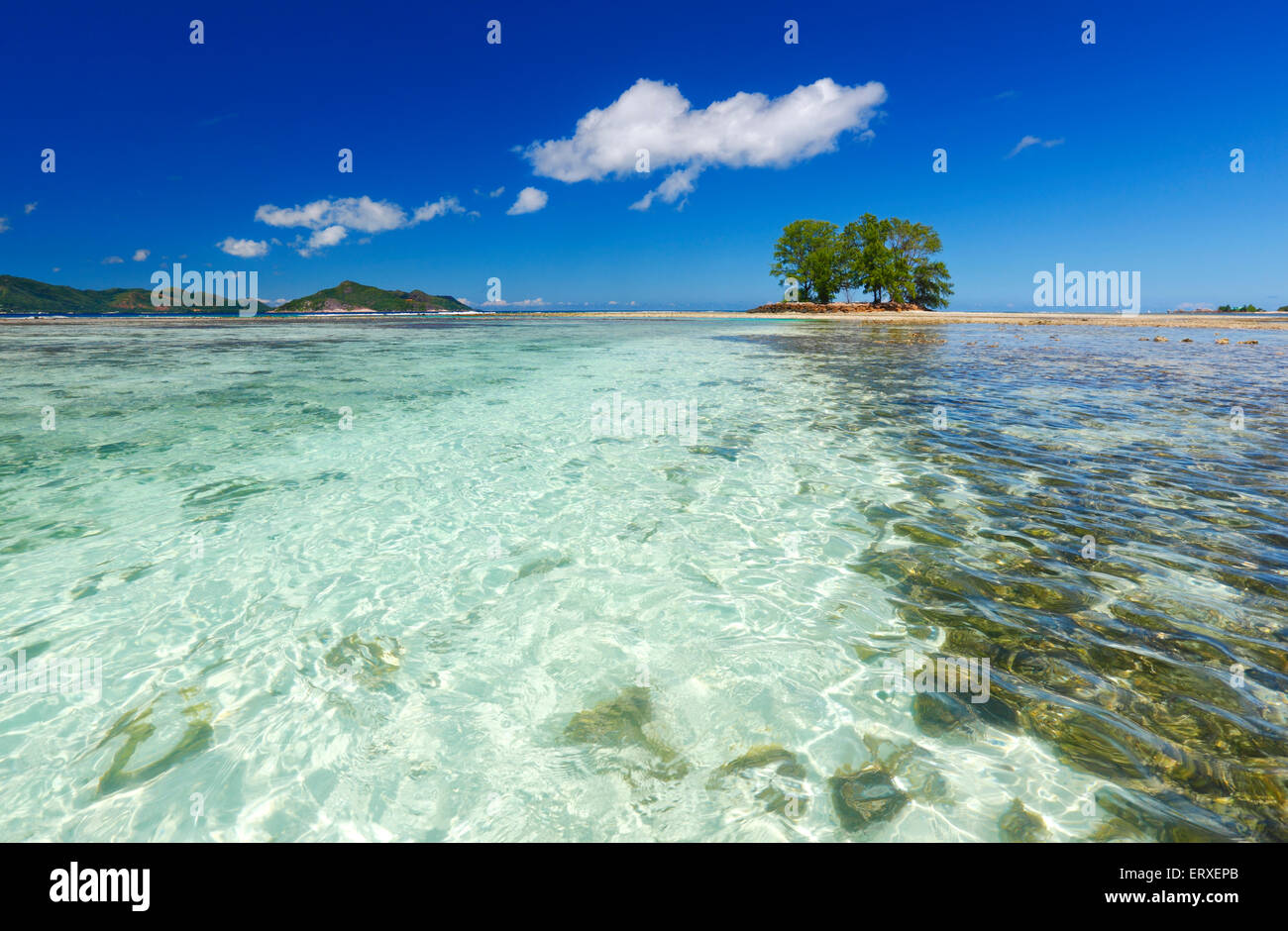Seychelles seascape, La Digue - Stock Image