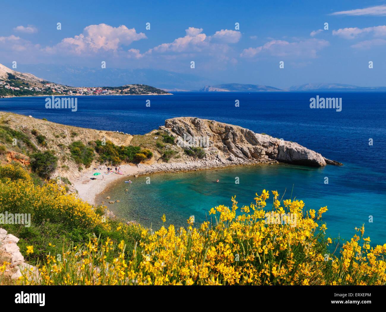 Beautiful beach on Island Krk in Croatia. - Stock Image