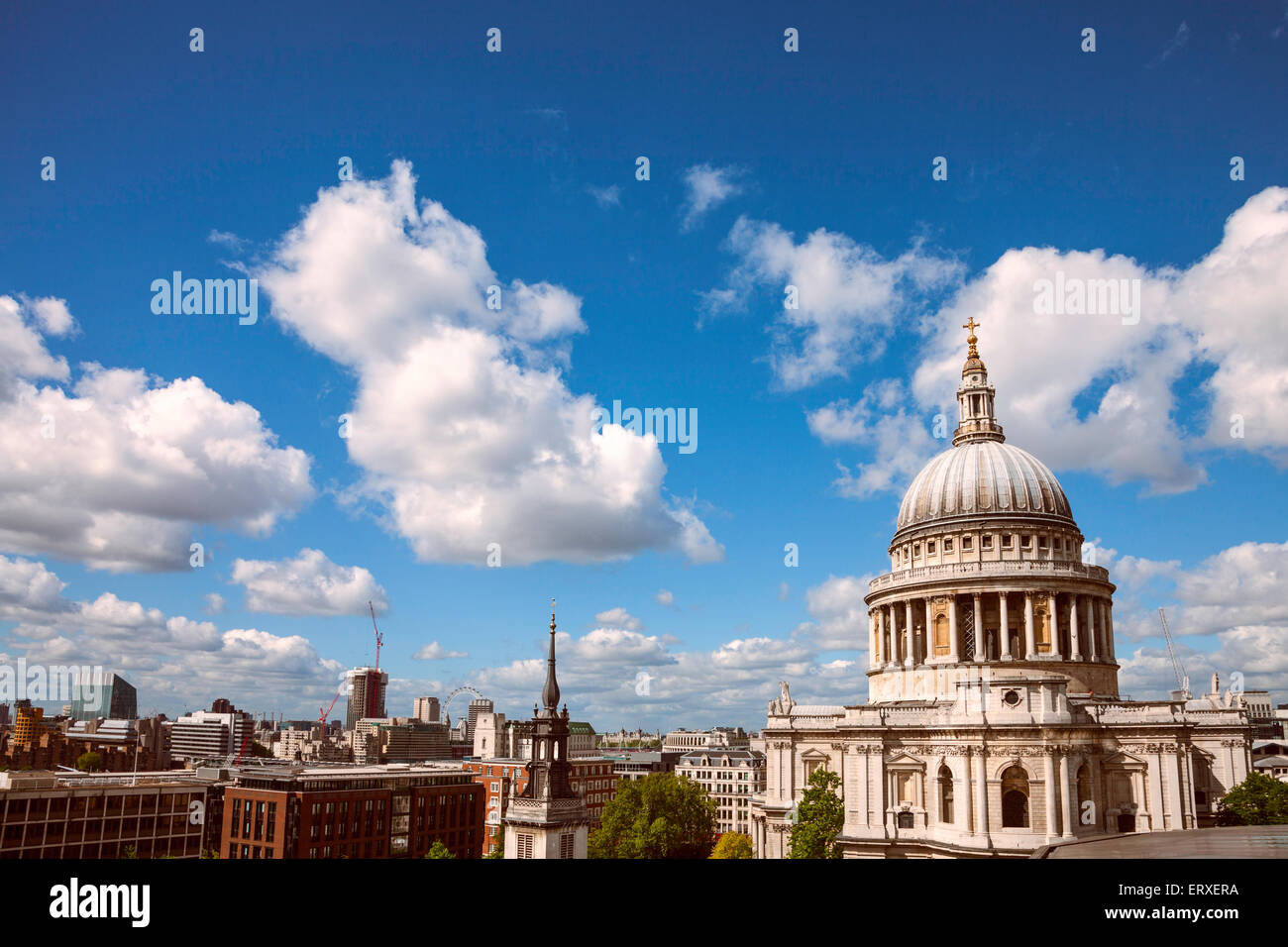 High angle views of St. Paul's cathedral and the City of London, UK. - Stock Image