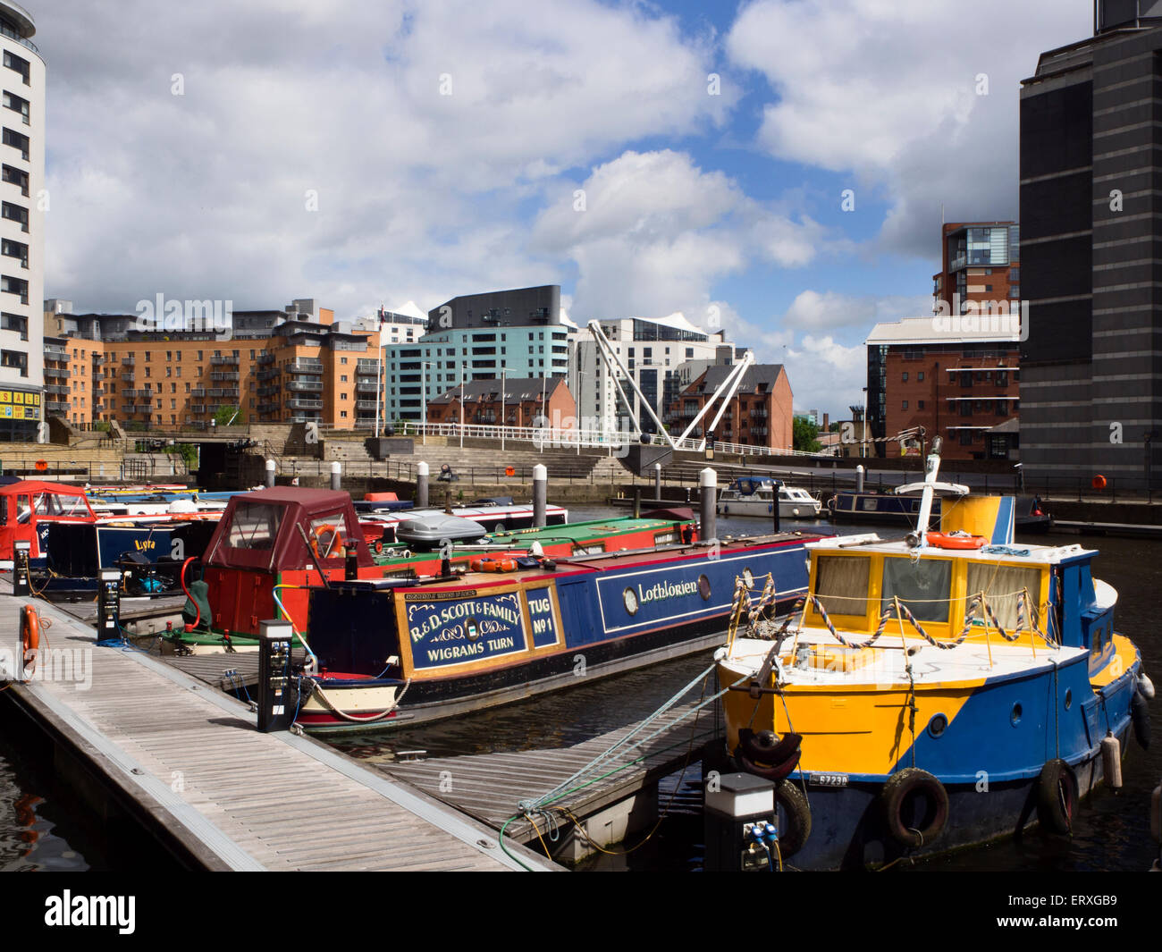 Narrowboats Moored at Clarence Dock in Leeds West Yorkshire England - Stock Image