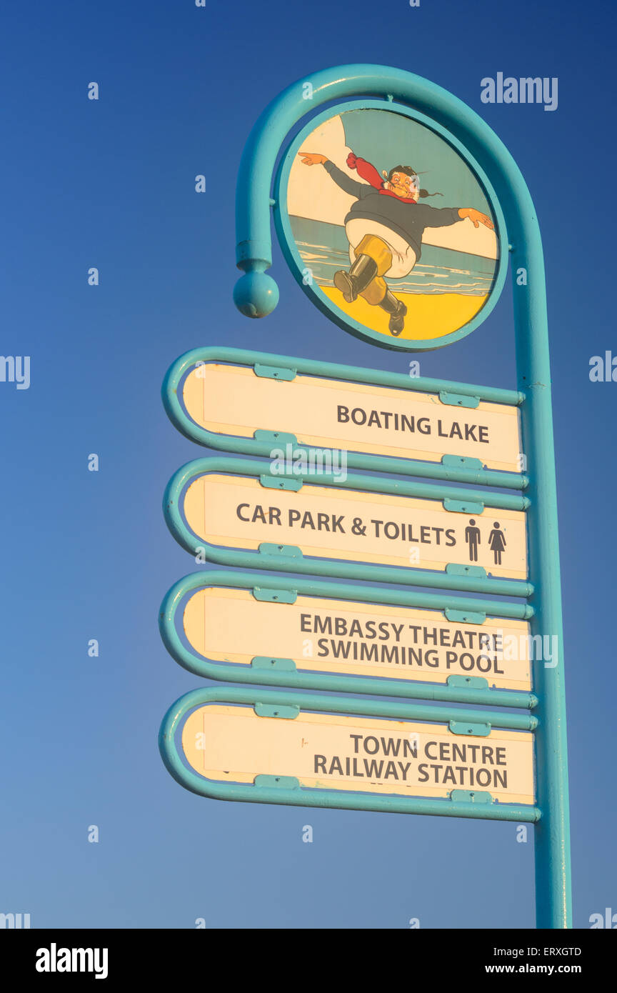 Skegness direction Jolly Fisherman signage, located at the beach, for key locations in Skegness, Lincolnshire - Stock Image
