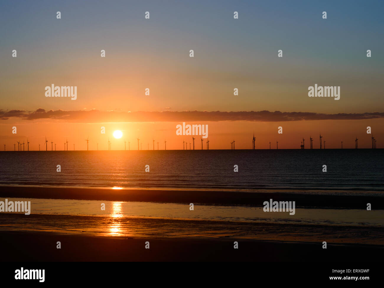 Skegness off-shore wind turbines of the wind farm. In Skegness, Lincolnshire, England - Stock Image