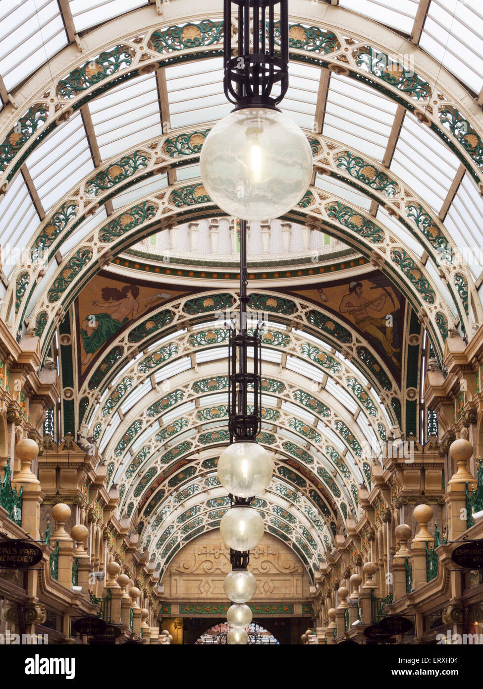 Ornate Glass Roof at County Arcade in the Victoria Quarter Leeds West Yorkshire England - Stock Image