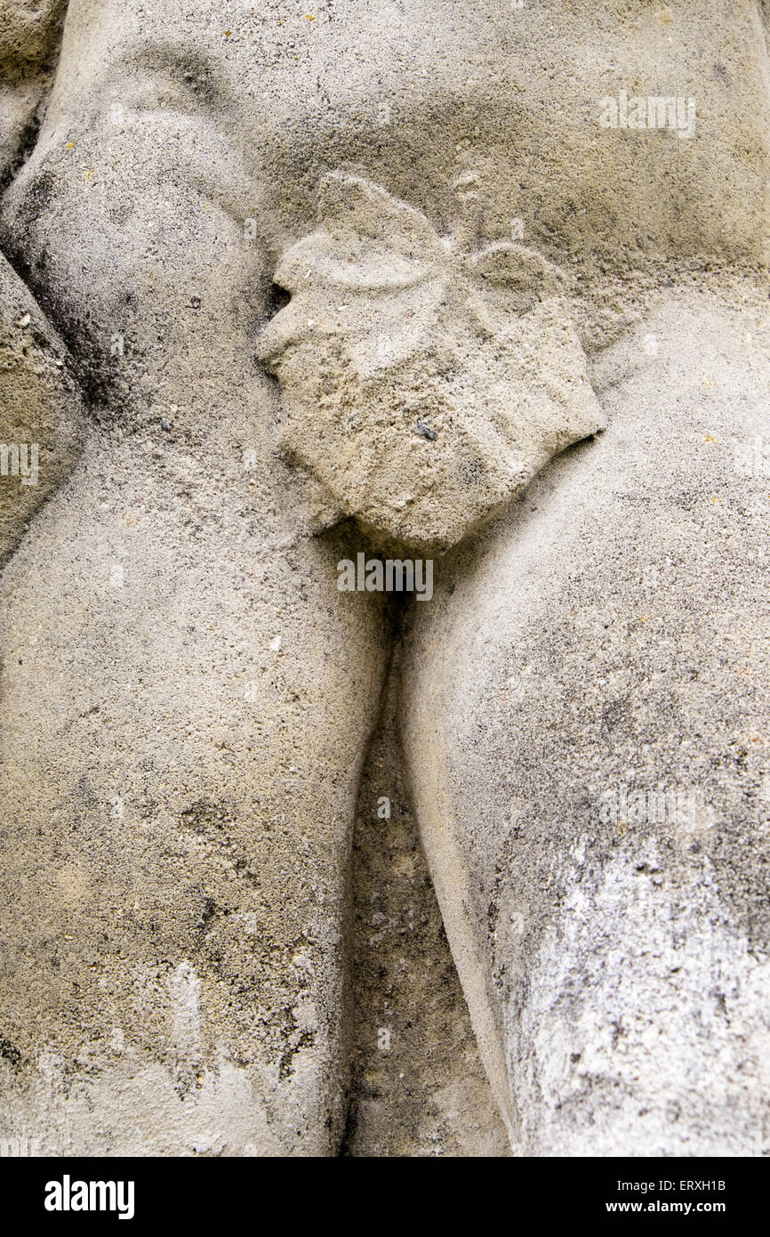 Close-up of sculpture, leaf covering genitals - Stock Image