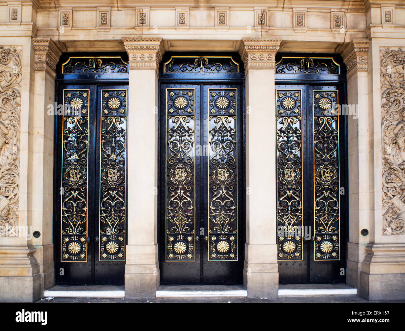Ornate Front Door at Leeds Town Hall on The Headrow Leeds West Yorkshire England - Stock Image