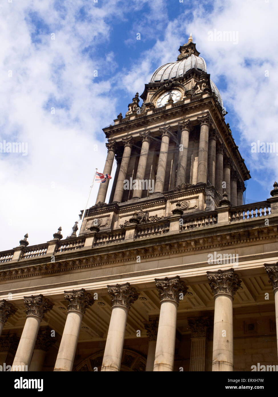 Leeds Town Hall on The Headrow Leeds West Yorkshire England - Stock Image