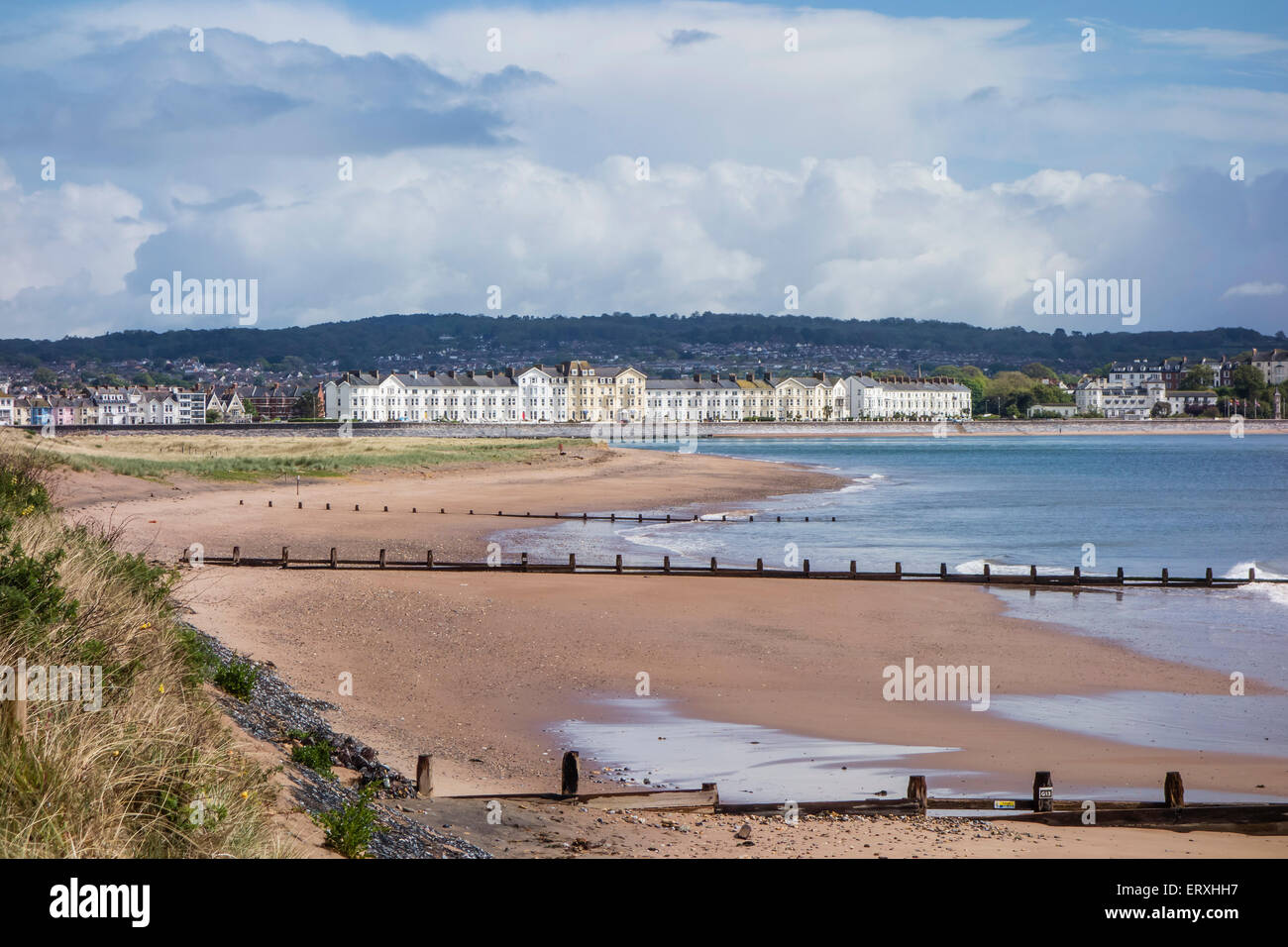 Dawlish Warren Beach with Exmouth in the background, Devon, England, UK - Stock Image