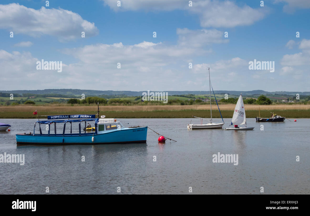 Topsham Turf Ferry moored in the River Exe with other boats, Devon, England, UK - Stock Image