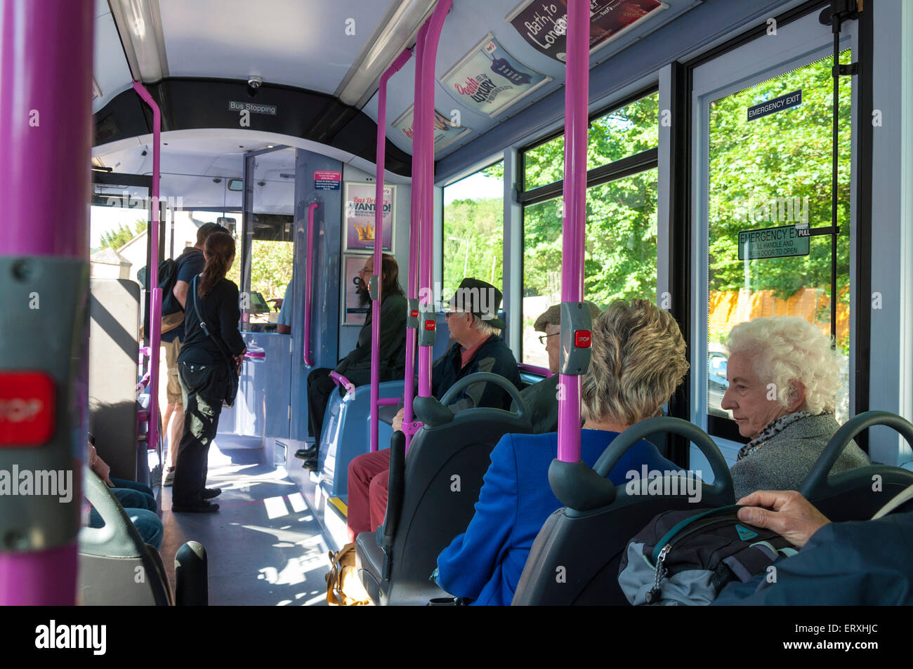 Passengers aboard a Firstgroup bus in Bath Somerset UK - Stock Image