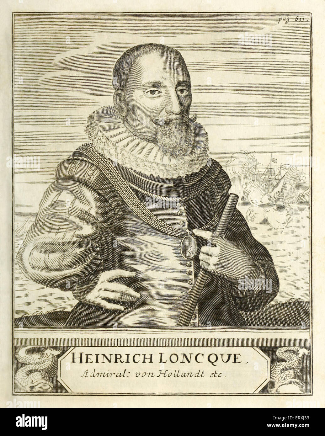 Hendrick Lonck (1568-1634), Dutch naval hero and first Dutch sea captain to reach the New World. Engraving by Herman - Stock Image