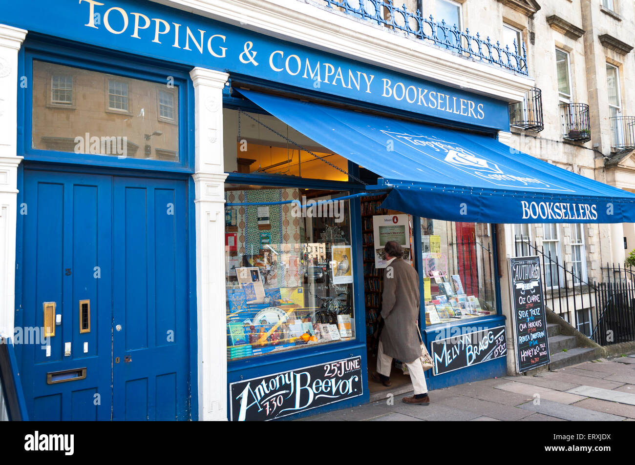 Topping and Company Booksellers Bookshop in The Paragon, Bath, Somerset, UK - Stock Image