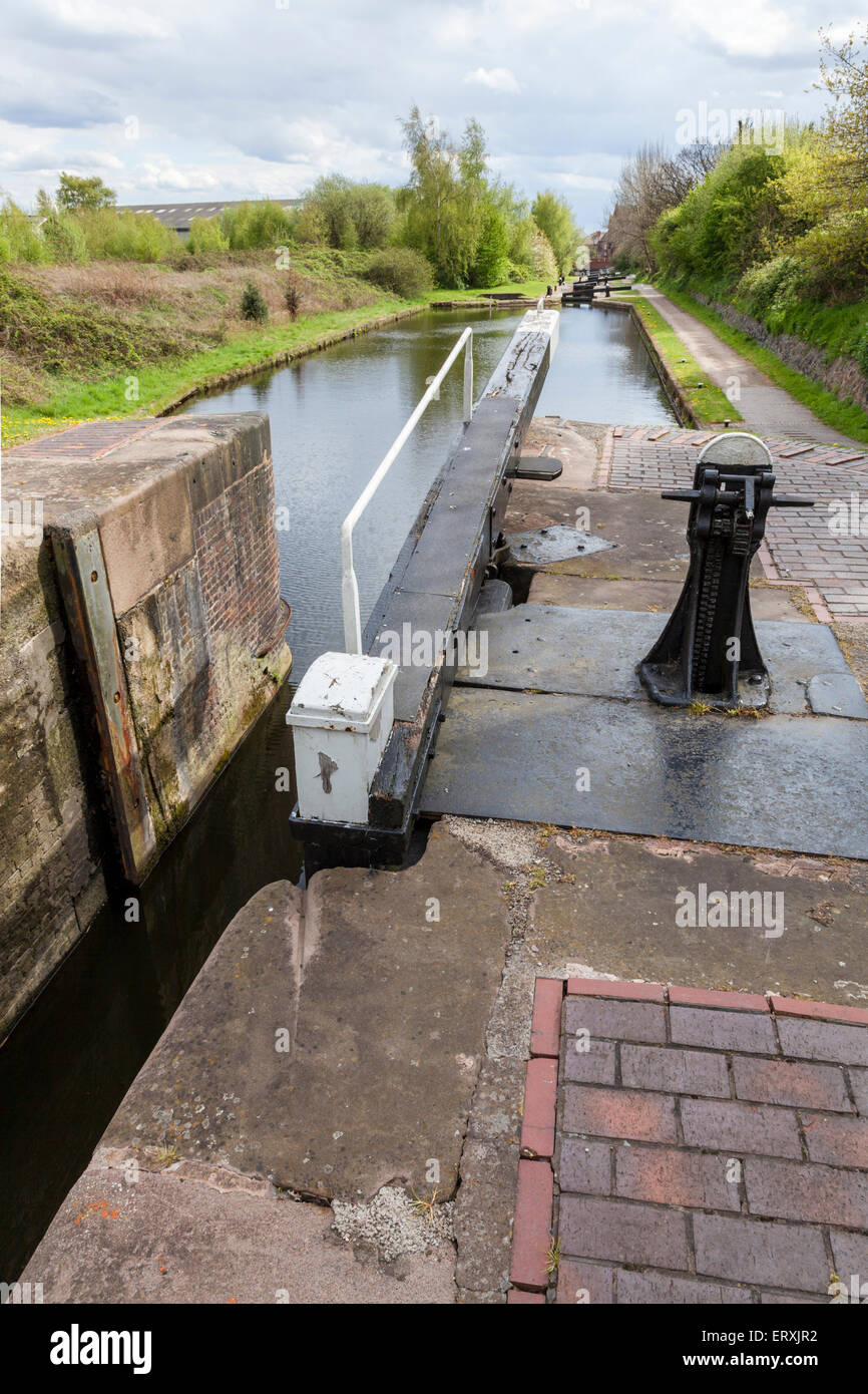The narrow Lock number 2 on the Walsall Branch Canal, West Midlands, England, UK - Stock Image