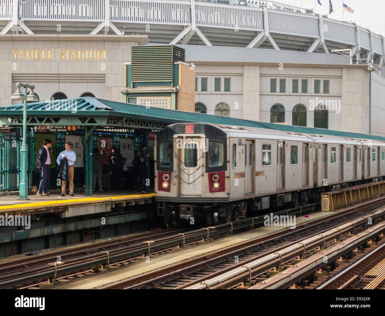 4 subway platform, train and tracks at yankee stadium, the