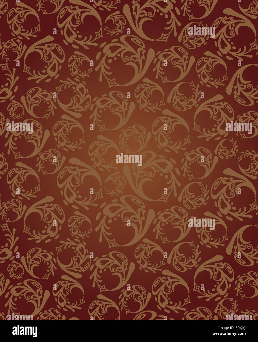 Seamless brown round wallpaper pattern background. This image is an illustration. - Stock Image