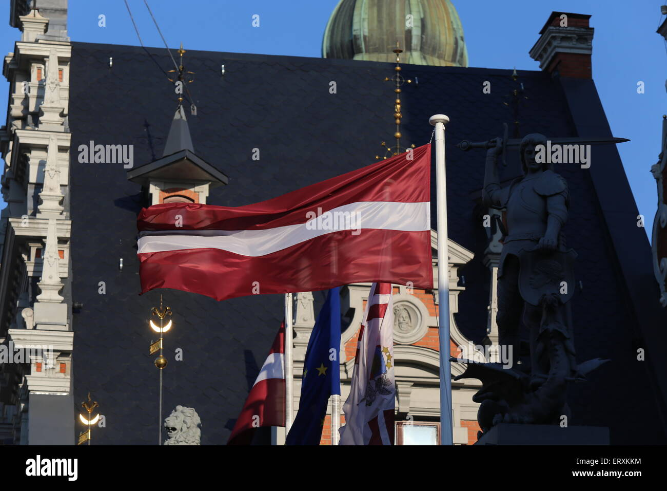 Latvian flag in the Town Hall square.Riga.Latvia.Europe - Stock Image