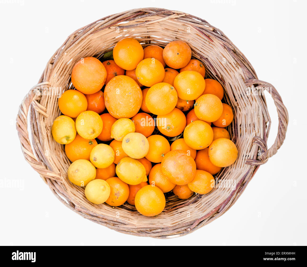 Basket filled with oranges and lemons on a white background - Stock Image
