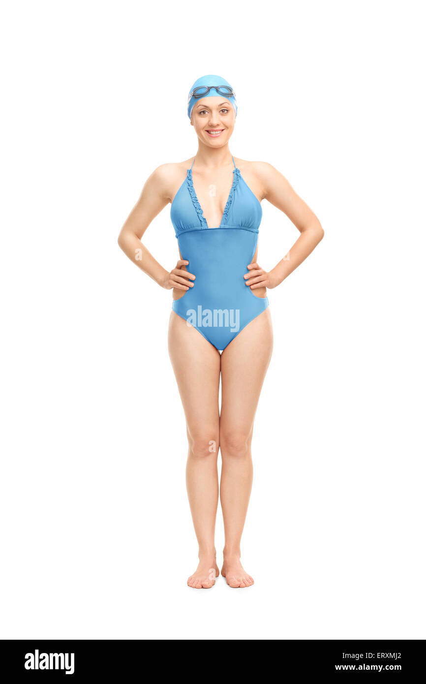 Full Length Portrait Of A Female Swimmer In A Blue Swimming Costume