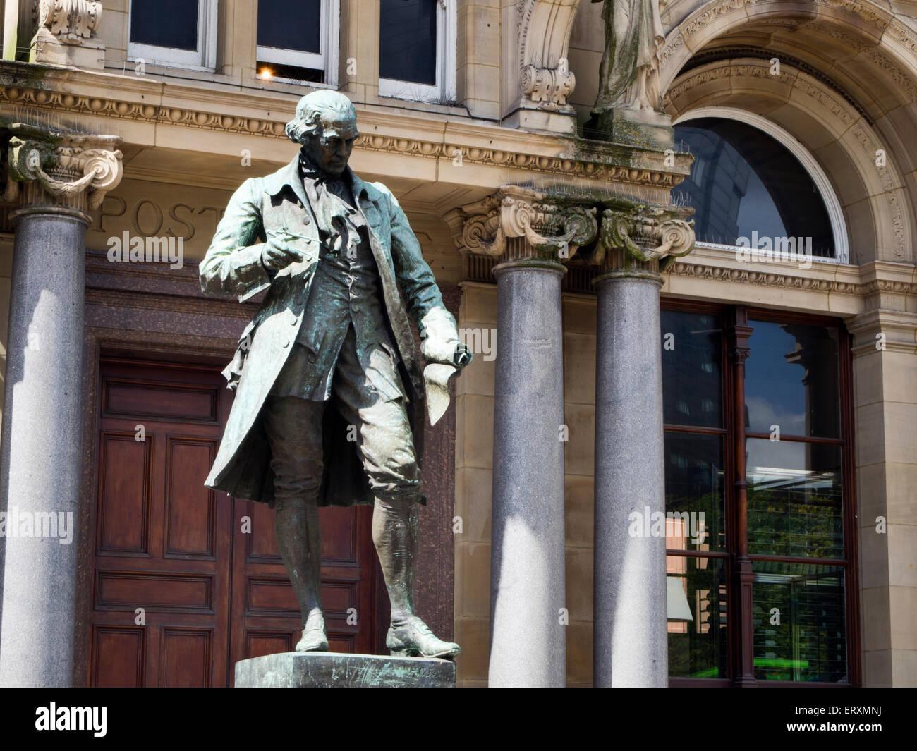 James Watt Statue in City Square Leeds West Yorkshire England - Stock Image