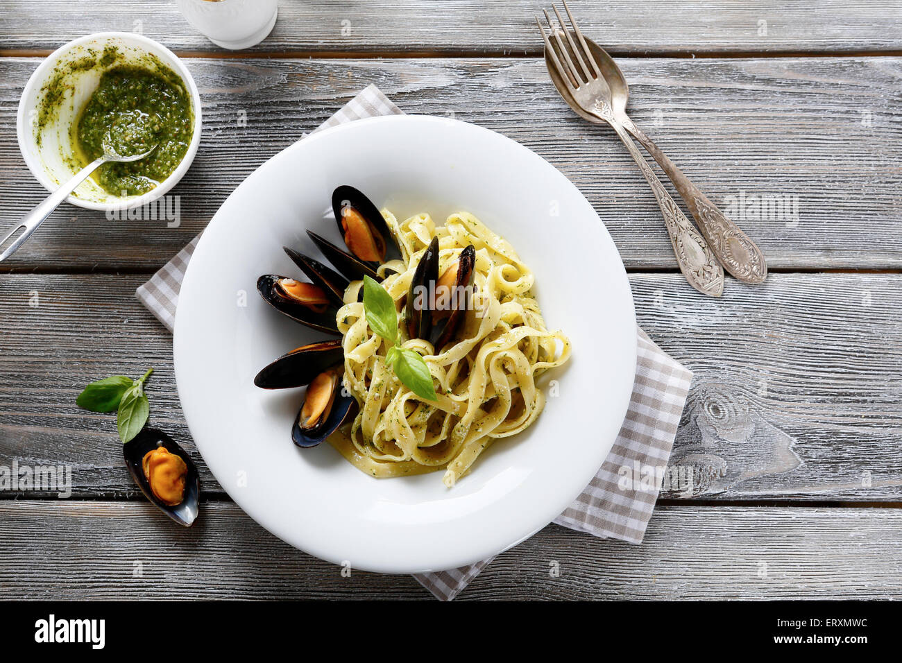 Nutritional pasta with seafood, top view - Stock Image