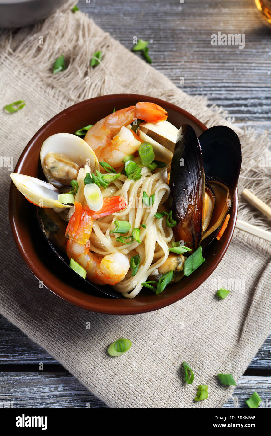 Noodles with seafood, tasty food - Stock Image