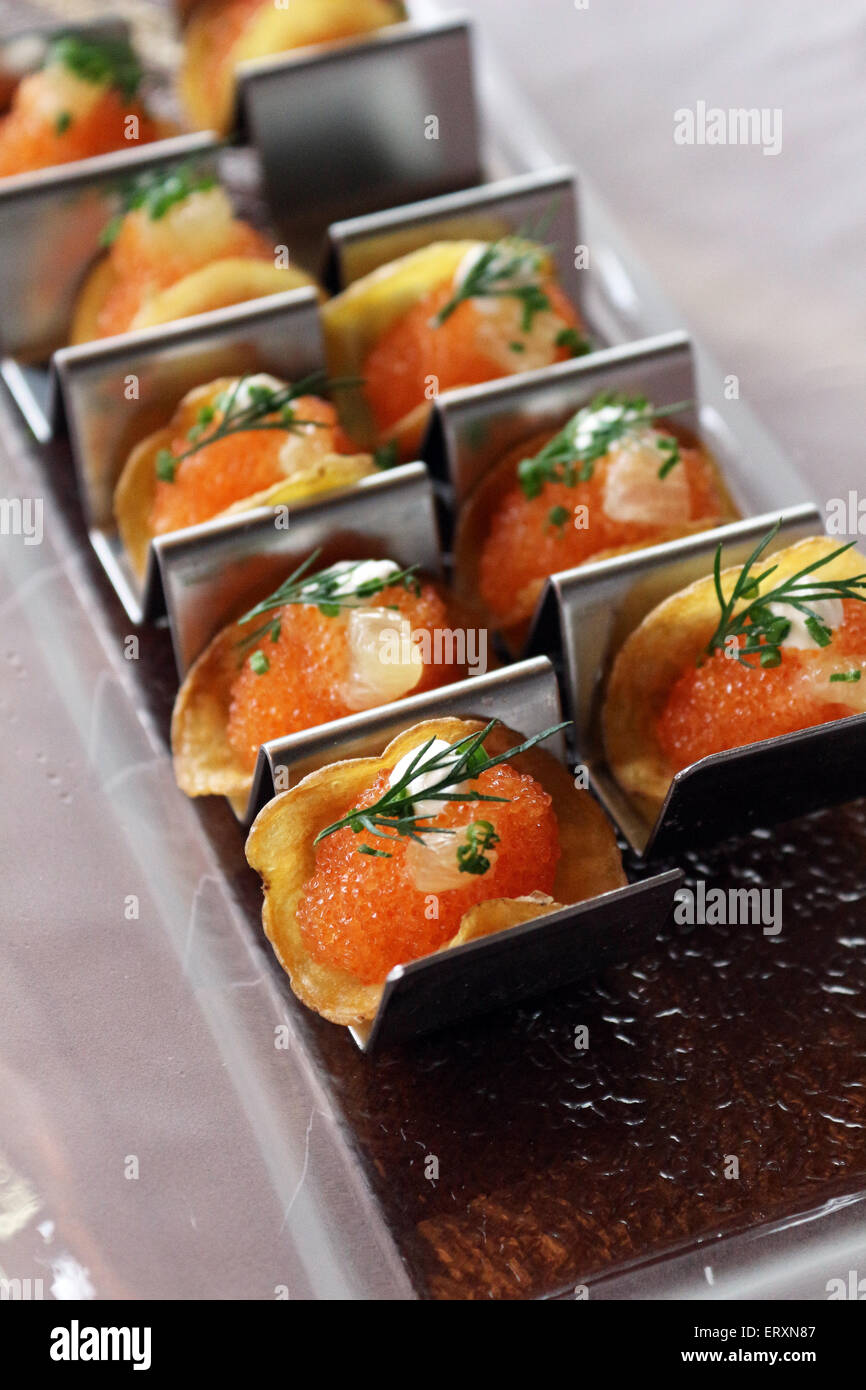 Caviar canapes close up - Stock Image