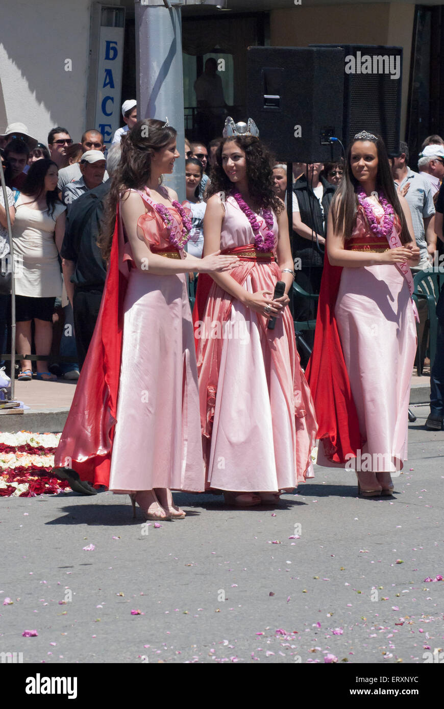 Princesses of Rose elected during Rose Festival in Bulgarian city Kazanlak - Stock Image
