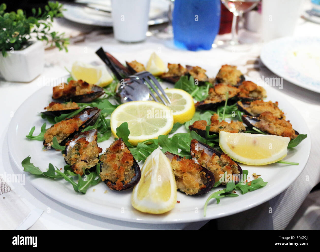 gratin of mussels - Stock Image