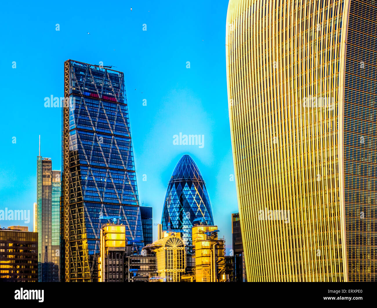 Cheesegrater, Gherkin and Walkie Talkie Buildings London - Stock Image