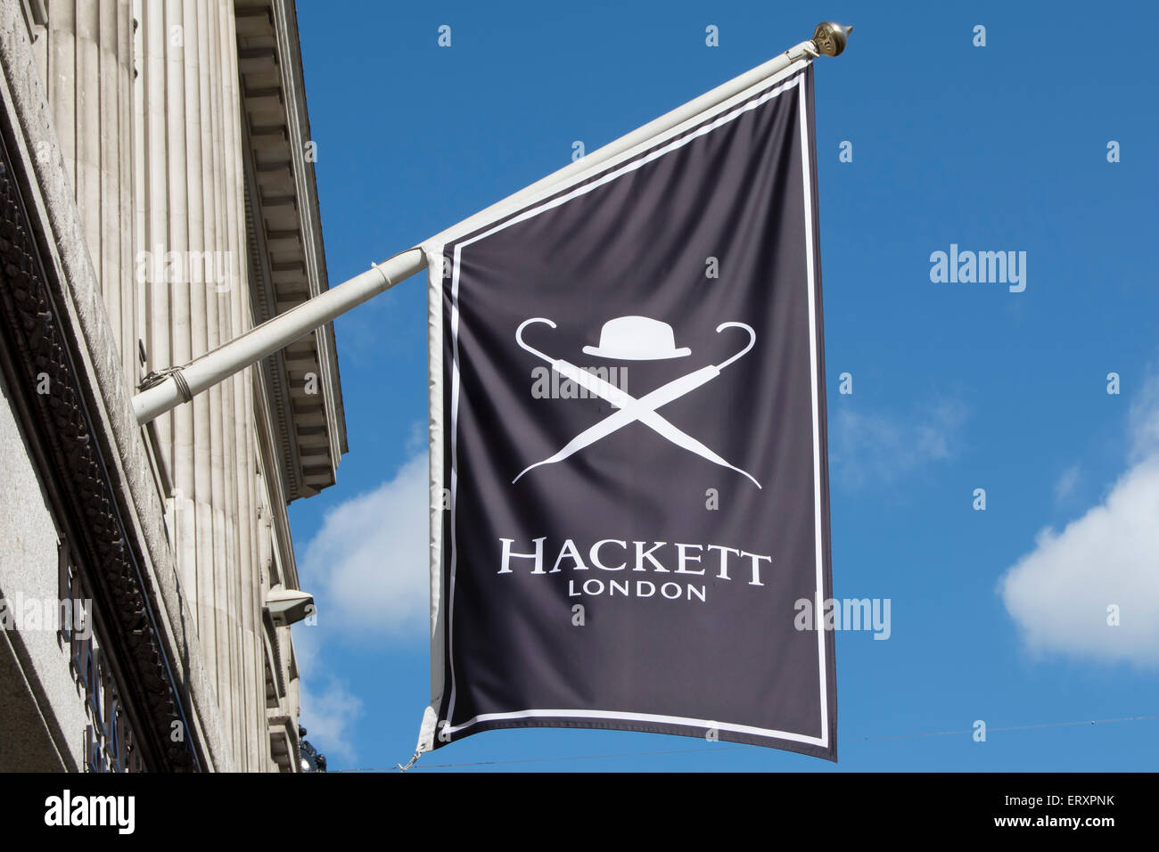 hanging flag sign with logo for luxury mens clothing store, hackett, regent street, london, england - Stock Image