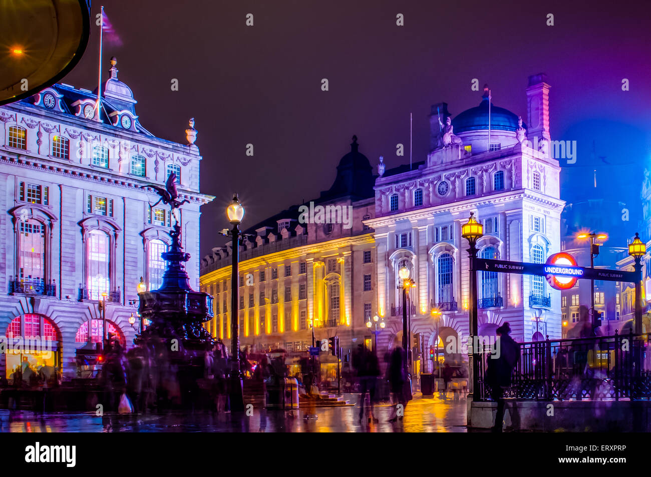 Piccadilly Circus at Night, Underground Sign in London, UK - Stock Image