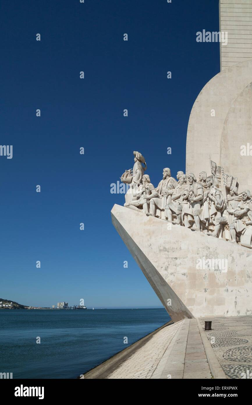 Discovery monument in Belem, Lisbon. The momument shows Henry the navigator at the forefront and celebrates the - Stock Image