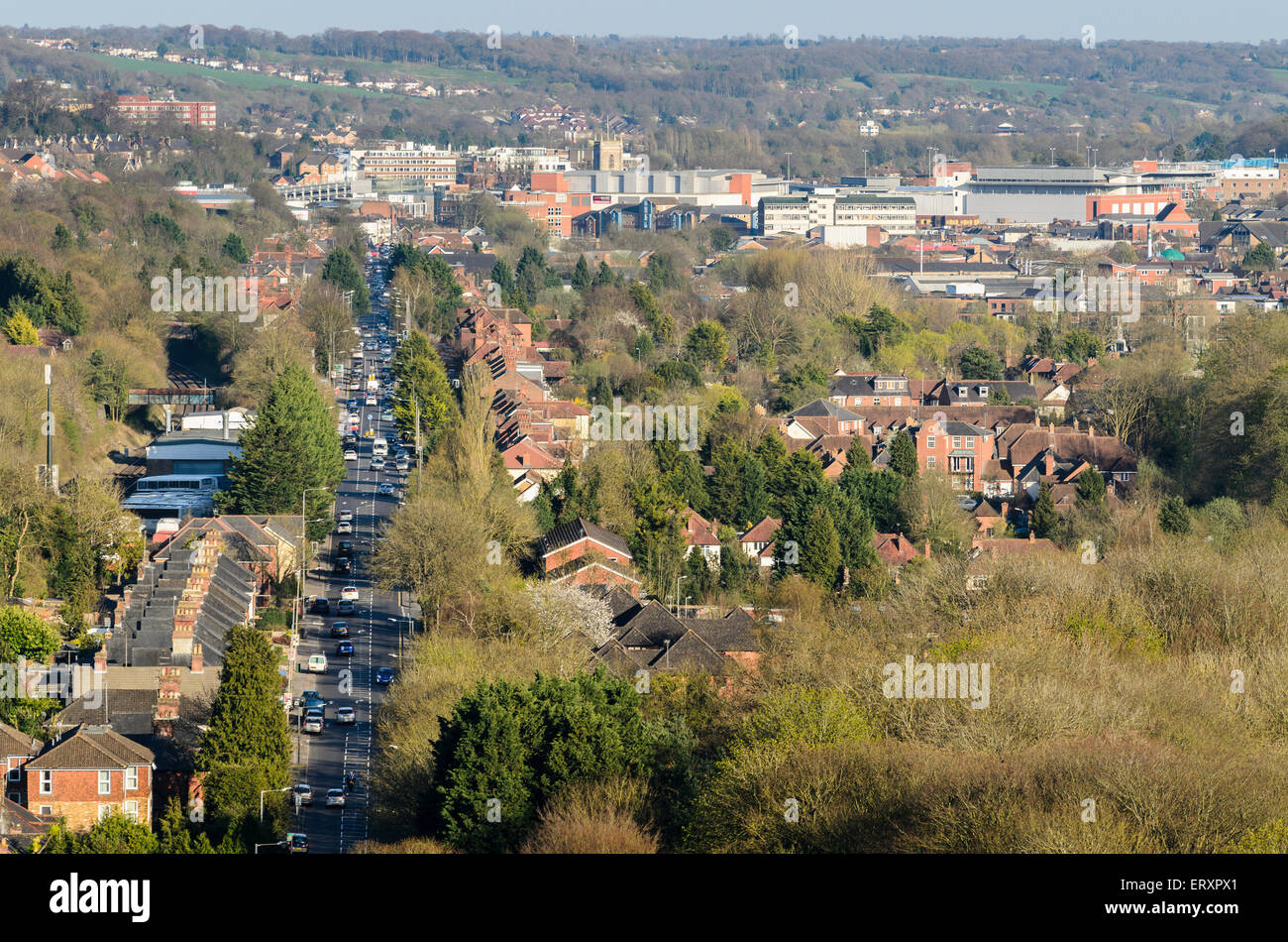 High Wycombe, Buckinghamshire, England, U.K. viewed from West Wycombe Hill. - Stock Image