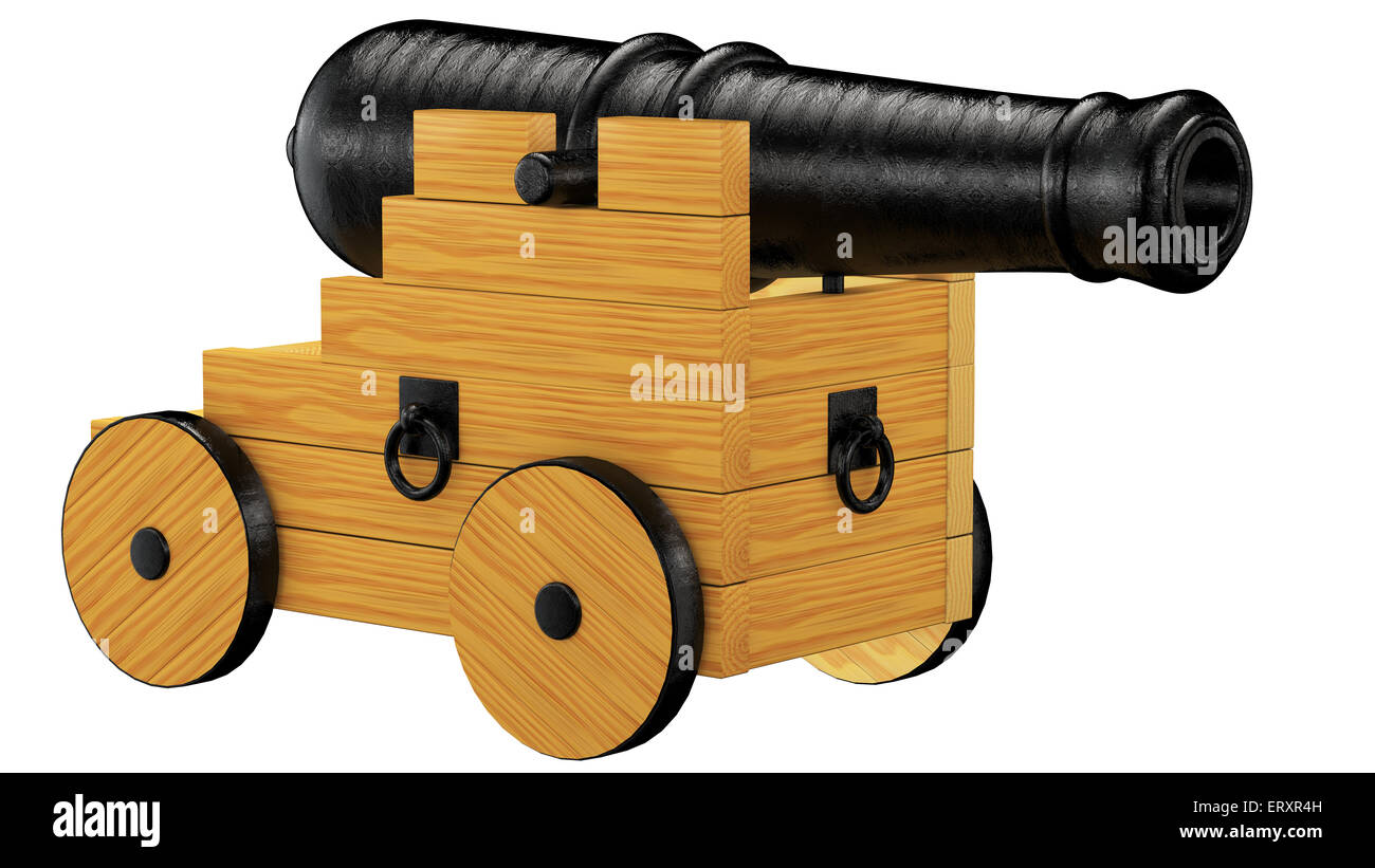 Old wood and iron cannon on wheels made in 3d with clipping path - Stock Image