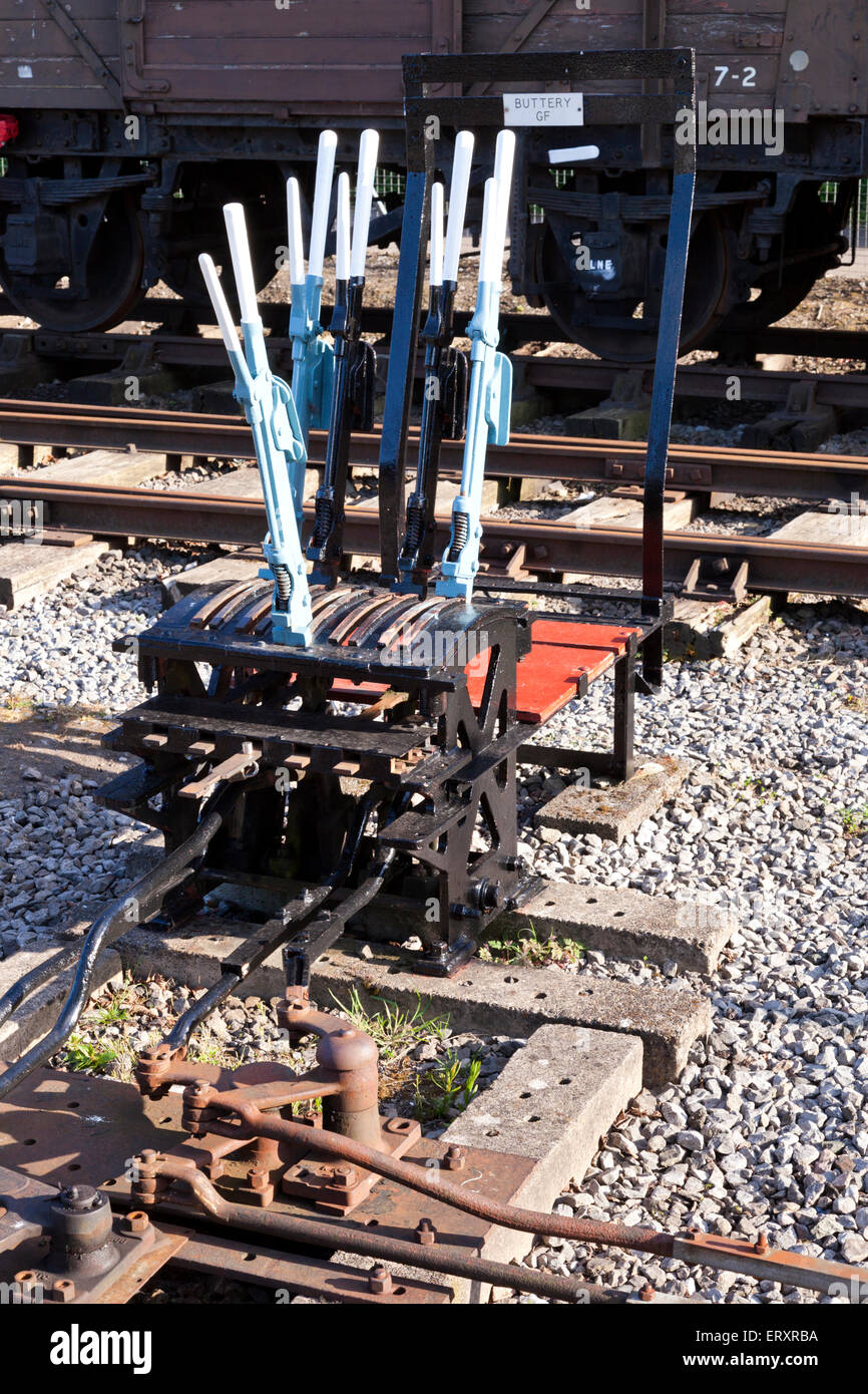 Levers for operating the points on the railway lines in Bristol Docks, Bristol UK - Stock Image