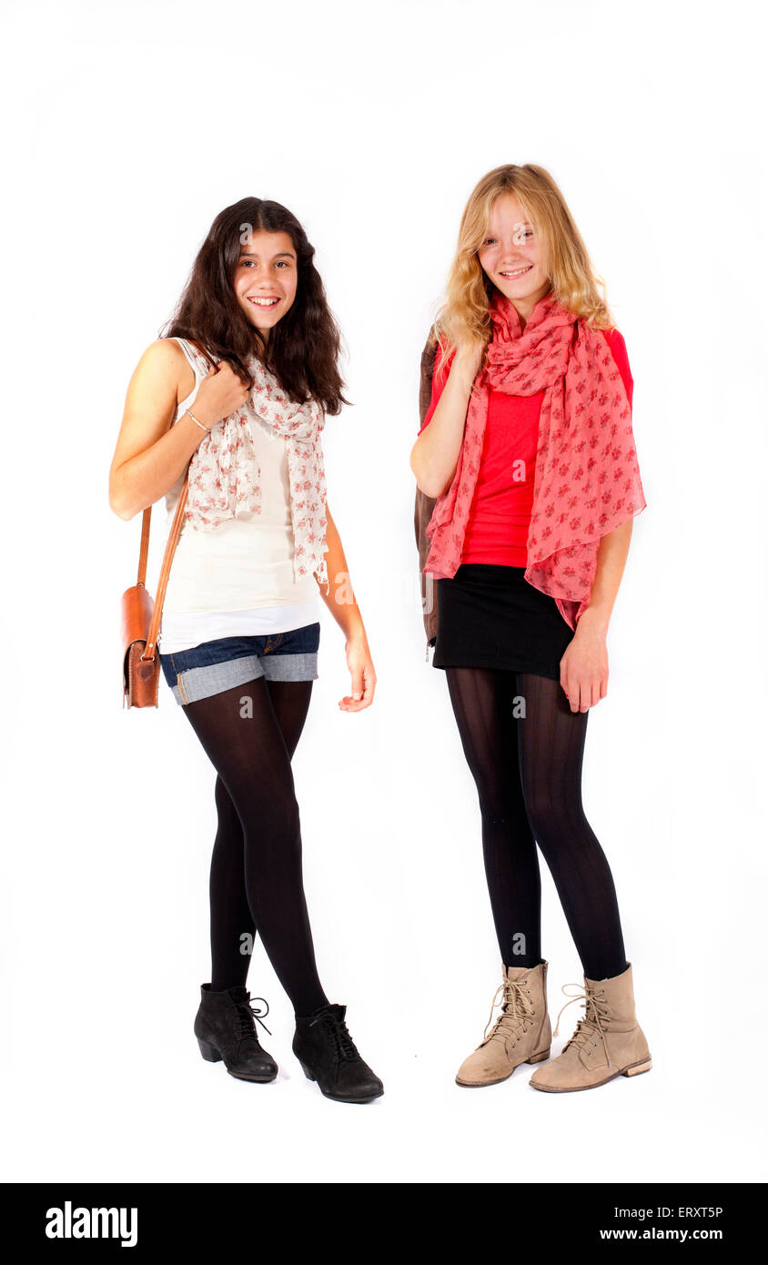 two girls standing next to each other stock photo 83568290 alamy