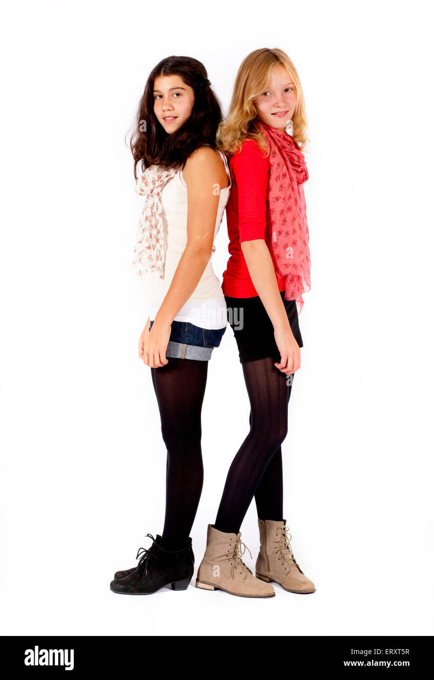 two girls standing next to each other stock photo 83568291 alamy