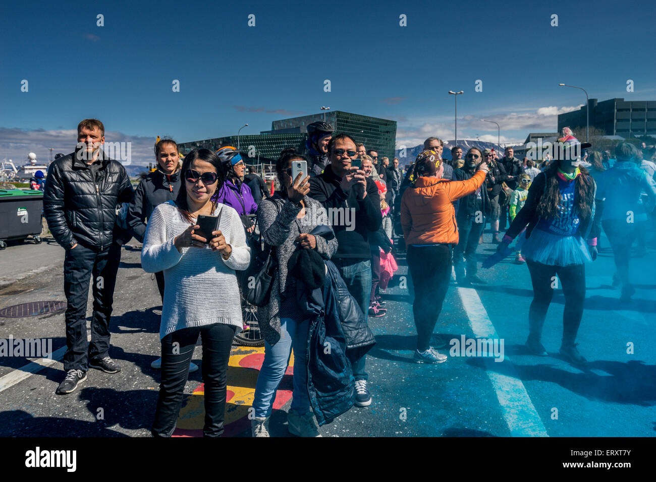 The Color Run, Reykjavik, Iceland. 'Happiest 5k run on the Planet'. This was the first Color Run held in - Stock Image