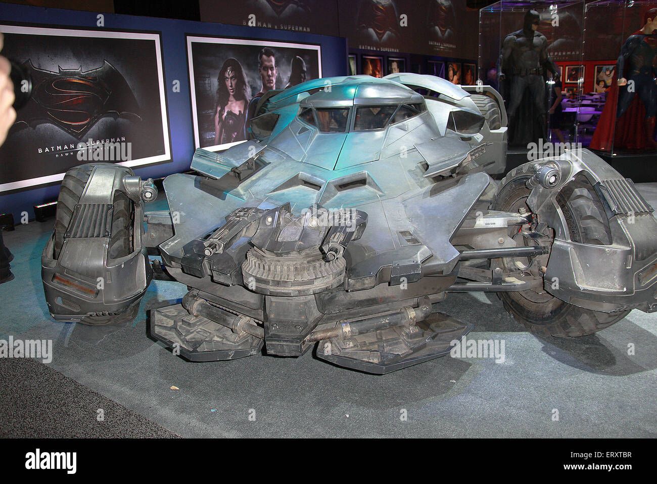 Las Vegas, Nevada, USA. 9th June, 2015. Warner Brothers Consumer Products unveils the Batmobile from Batman vs Superman:Dawn - Stock Image