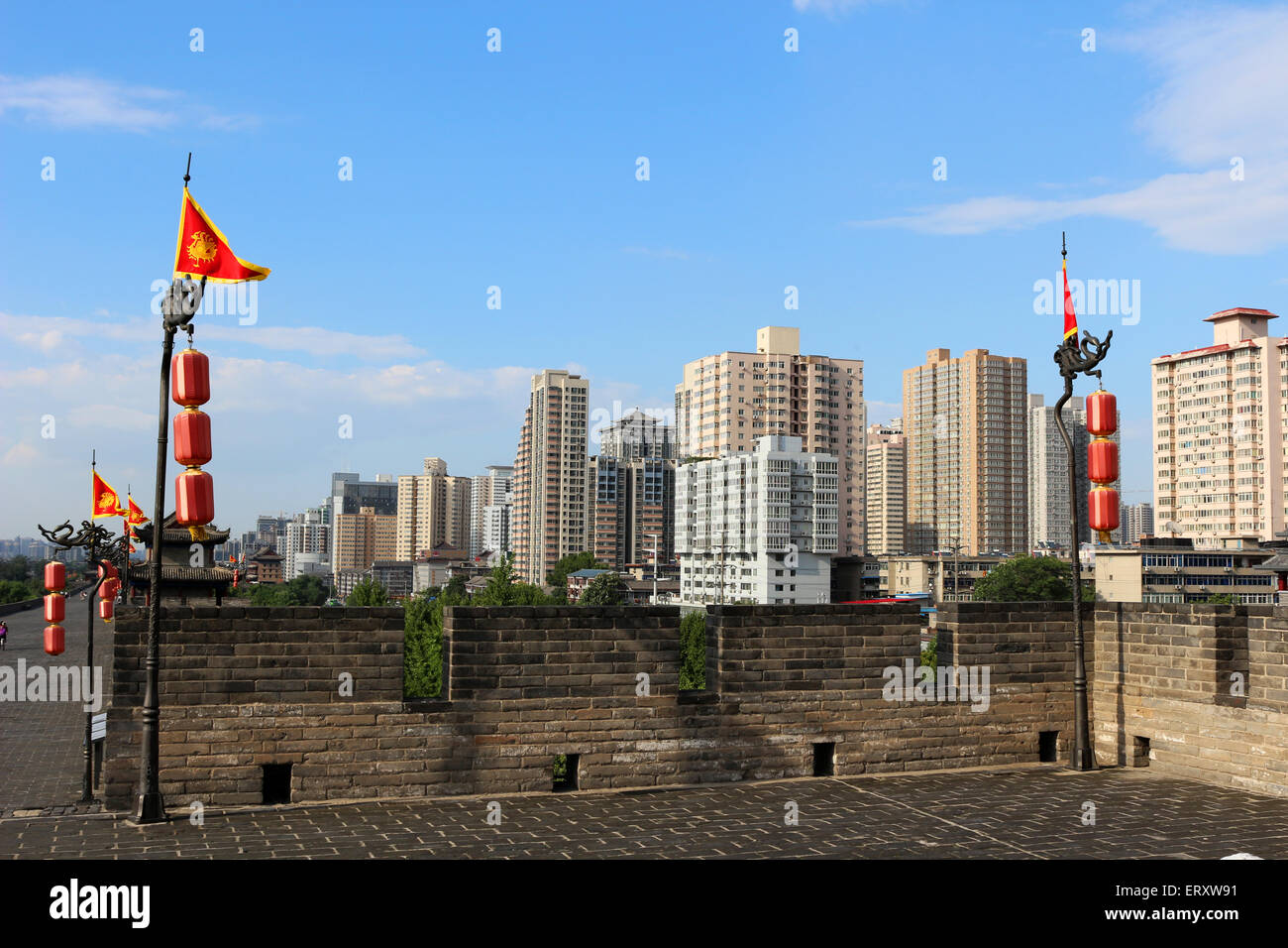 High rises from Xian city wall - Stock Image