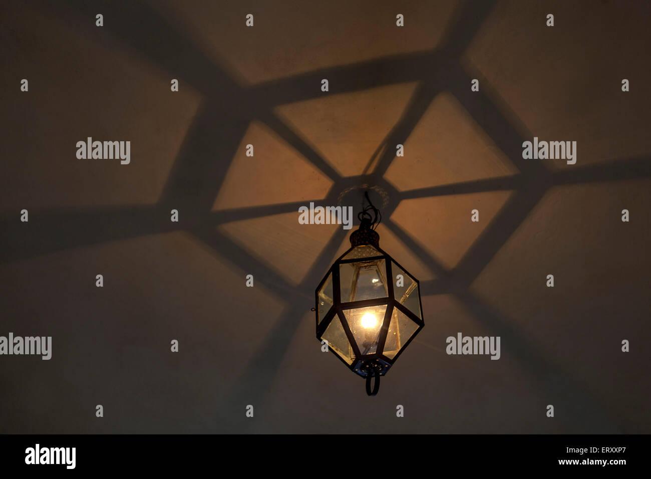 Manetin Castle lamp. West Bohemia, Czech Republic. - Stock Image
