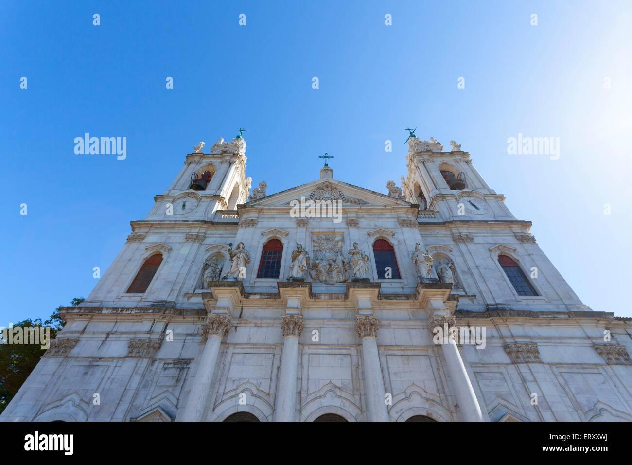 A high angle view of the beautiful Neoclassical Basilica da Estrela, built by Dona Maria I in 1790 in gratitude - Stock Image