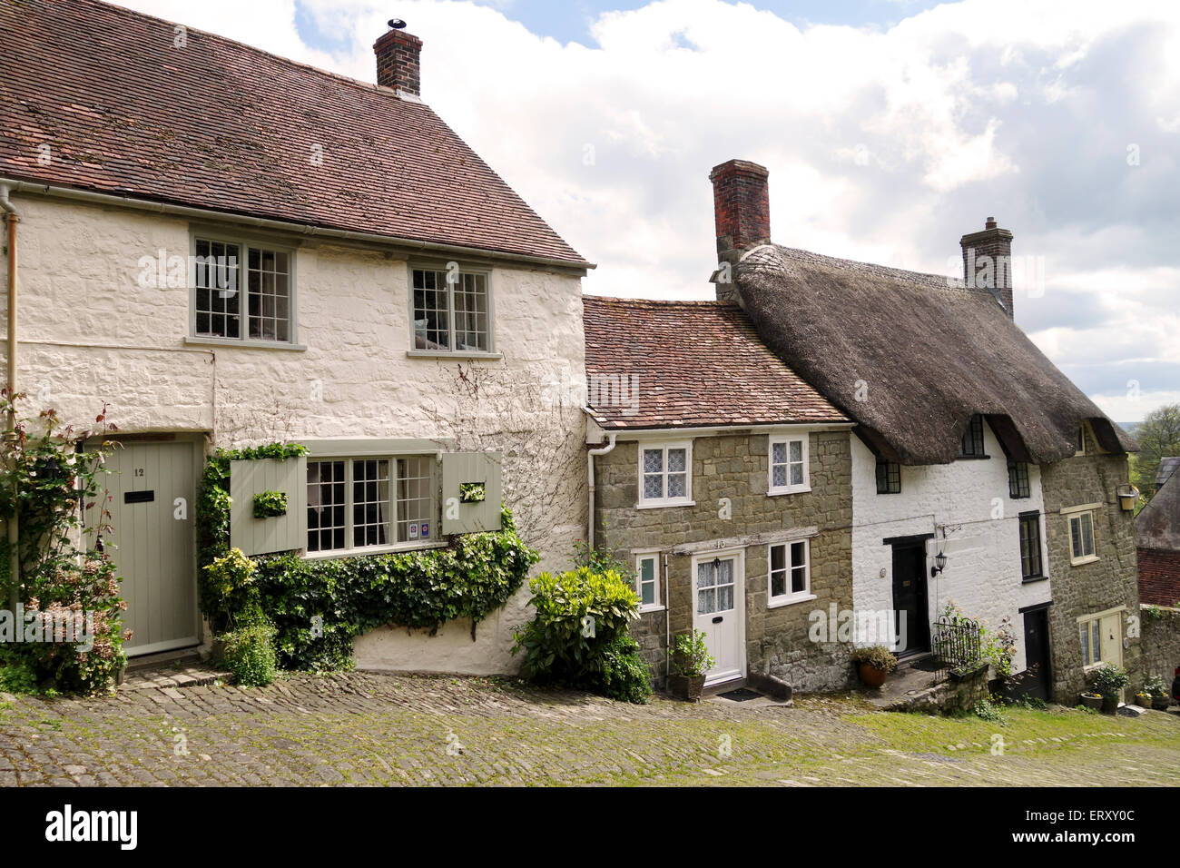 Gold Hill, Shaftesbury home of the Hovis Advert, Dorset - Stock Image