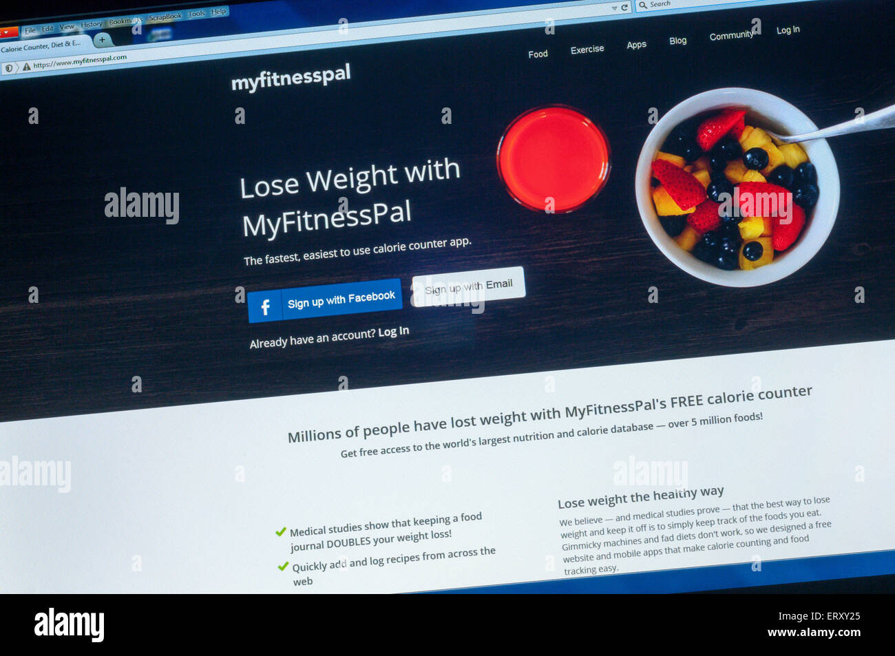 Website homepage for the MyFitnessPal calorie counter app. - Stock Image