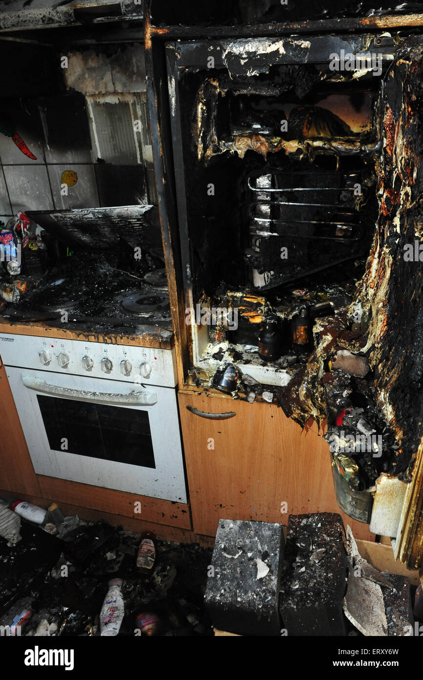 Burned Kitchen After Fire Caused By Cigarettes Stock Photo