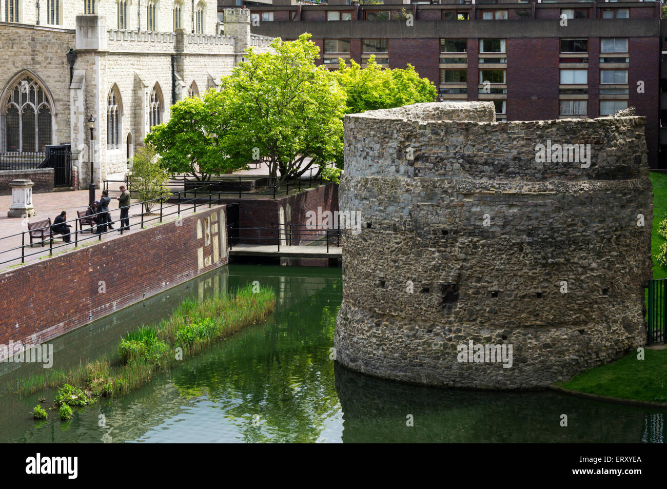 A thirteenth century bastion on London wall preserved within the Barbican housing estate. - Stock Image
