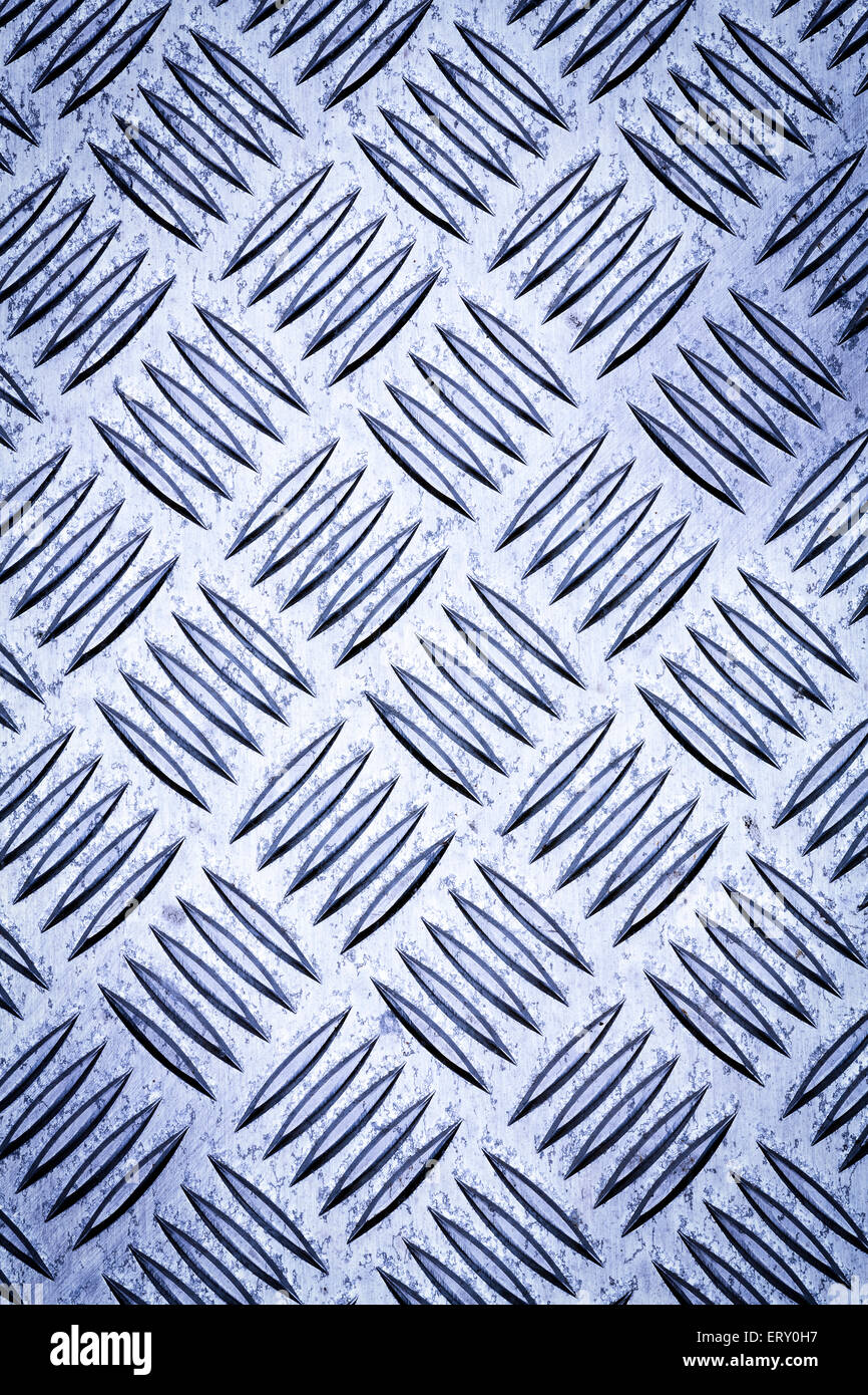 Blue colored diamond plate, checker plate, tread plate, cross hatch kick plate and Durbar floor plate for texture - Stock Image