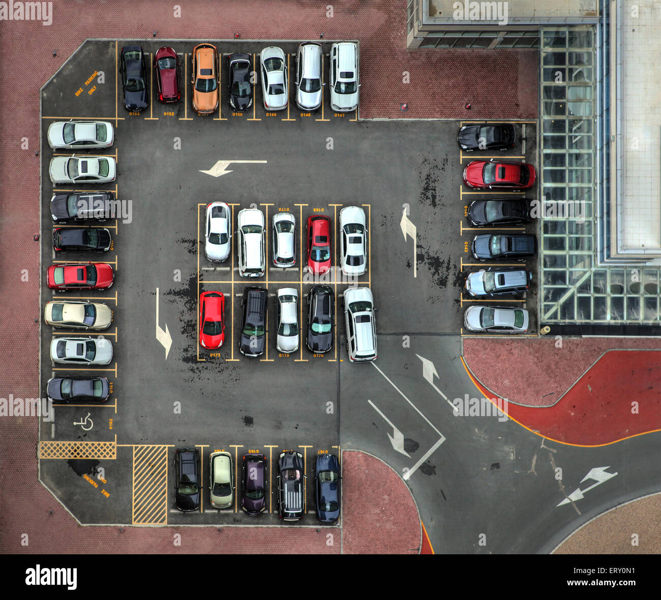 Design A Parking Garage A Perfert Top View Of A Full Car Parking Area With