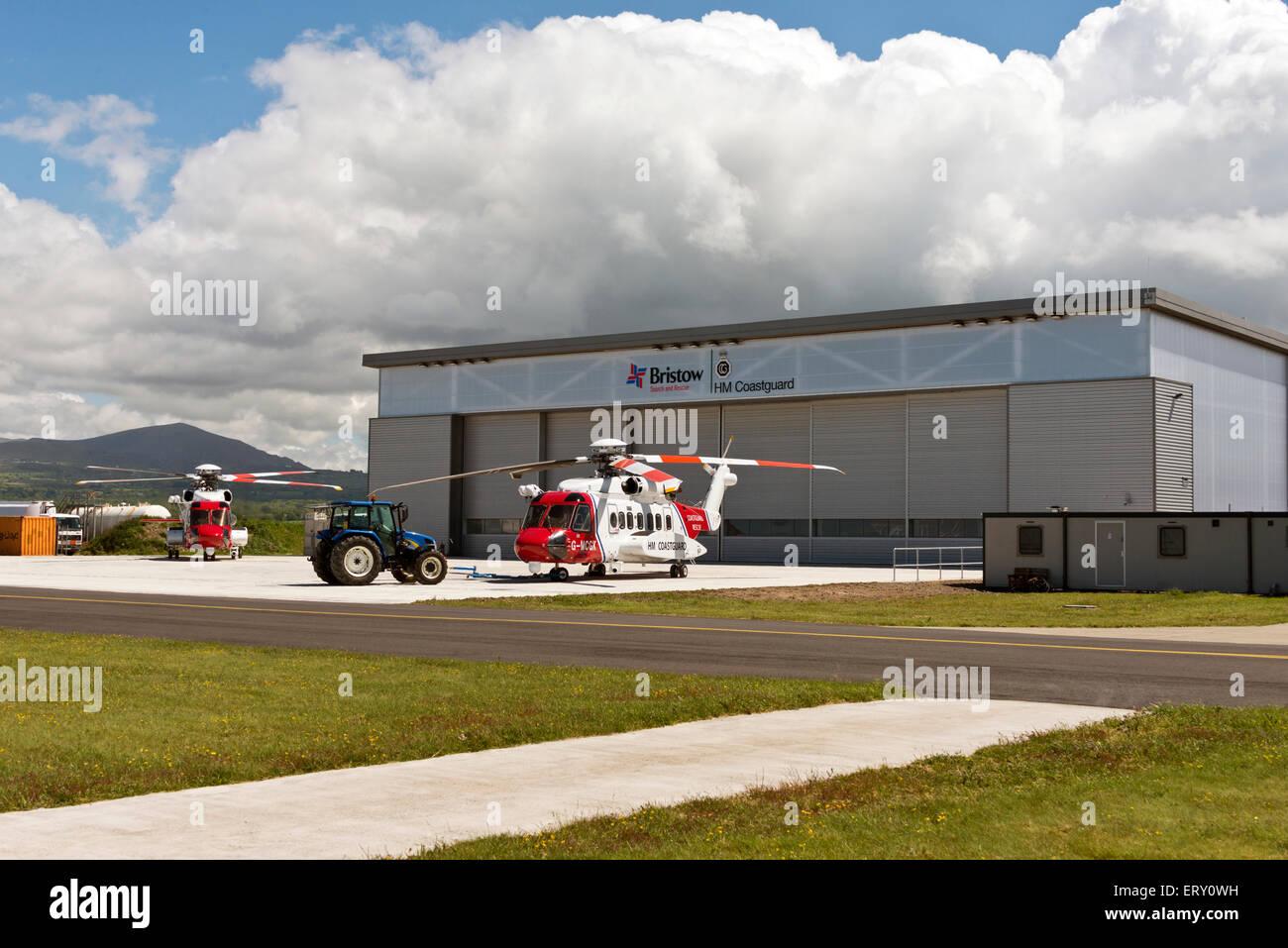 G-MCGE Sikorsky S92A H.M.Coastguard search and rescue Caernarfon Caernarvon Airport North Wales Uk Stock Photo